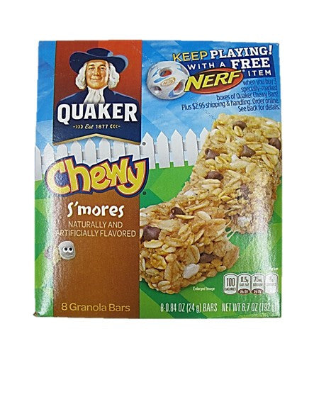 Quaker Chewy S'mores Granola Bar Naturally and Artificially Flavoured (8 Bars x 24g)