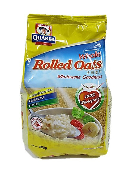 Quaker Whole Rolled Oats Wholesome Goodness 100% Wholegrain Packet 800g