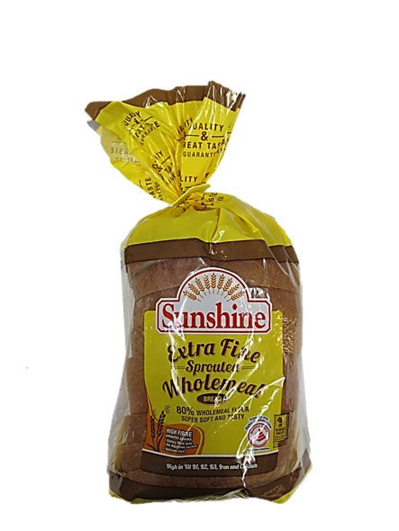 Sunshine High Fibre Extra Fine Sprouted Wholemeal Bread 360g