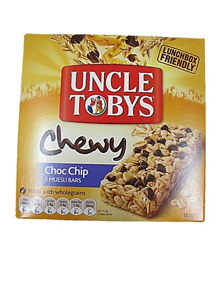 Uncle Tobys Chewy Choc Chip 6 Muesli Bars 185g