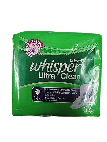 Whisper Ultra Clean Wings Extra Heavy Flow & Overnights 32cm 14 Pads