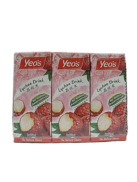 Yeo's Lychee Drink No Added Preservatives (6 Packs X 250ml)