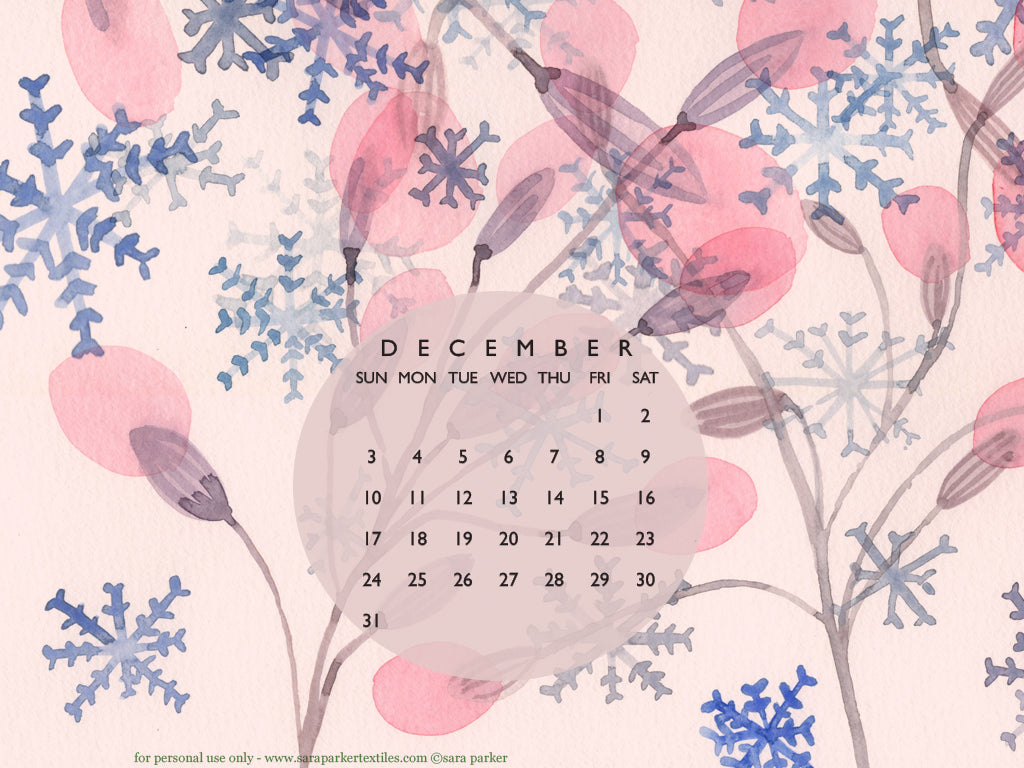 Sugarplums and snowdrops! Free tablet or ipad calendar wallpaper for download by Sara Parker.