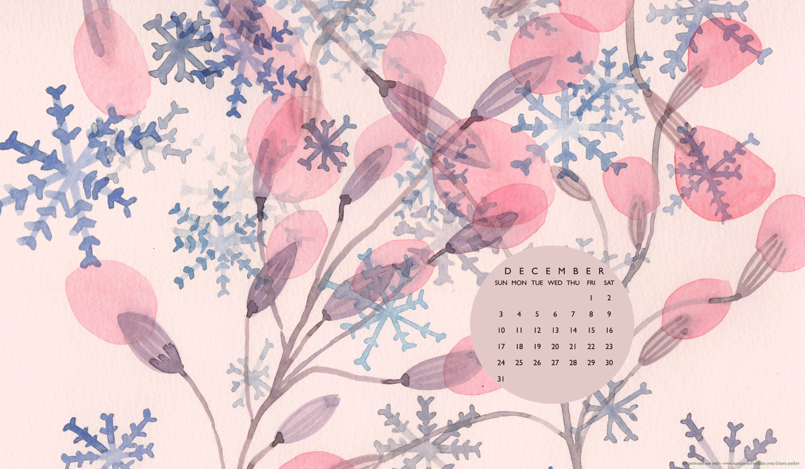 Sugarplums and snowdrops! Free desktop calendar wallpaper for download by Sara Parker.