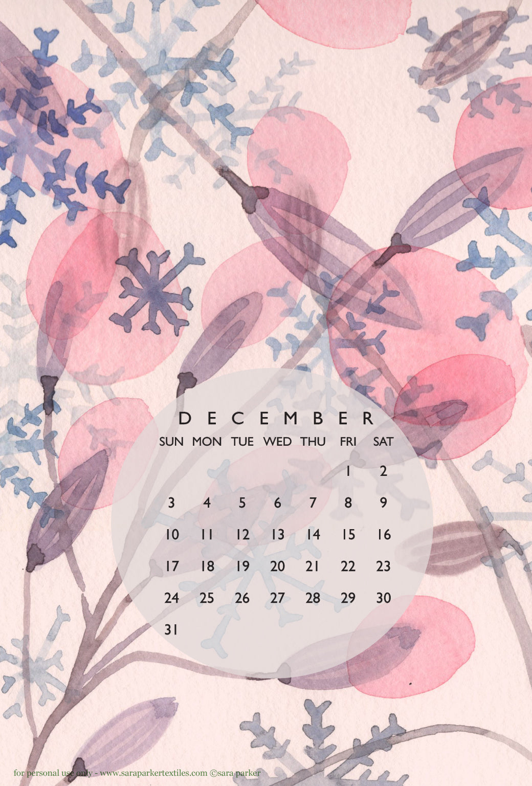 Sugarplums and snowdrops! Free phone calendar wallpaper for download by Sara Parker.