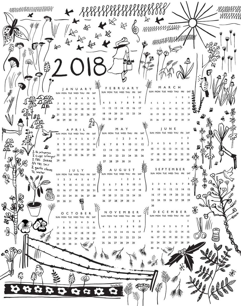 2018 tea towel calendar by sara parker