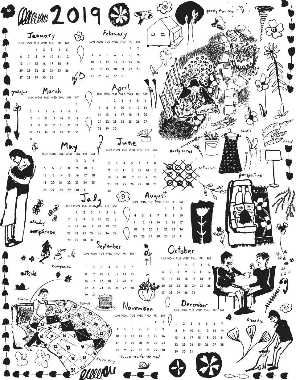 2019 Tea Towel Calendar by Sara Parker