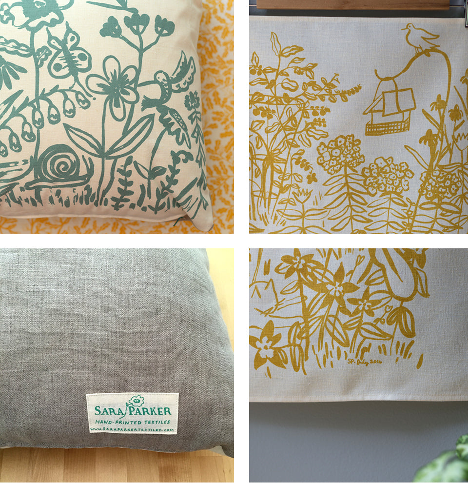 July Tea Towel and Flower Garden Pillow by Sara Parker