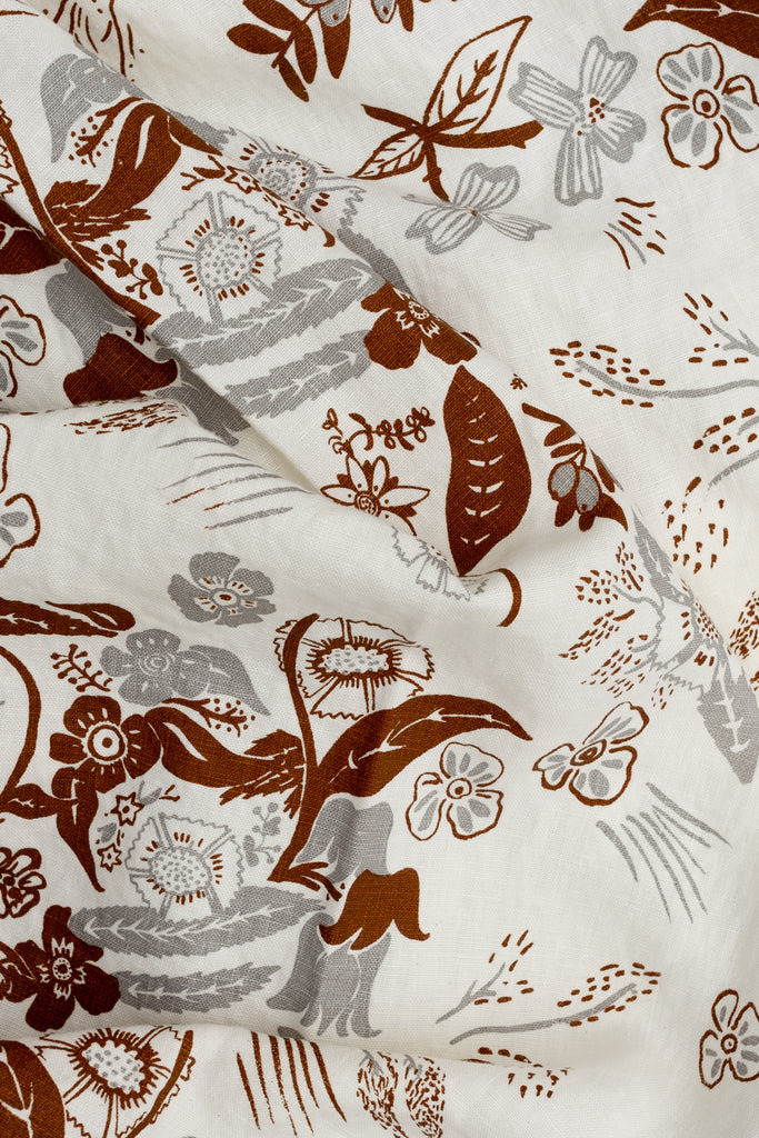 Screen printed fabric with floral print