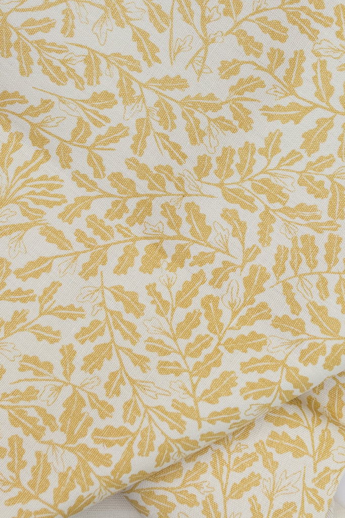 Screen printed fabric with little oak leaves