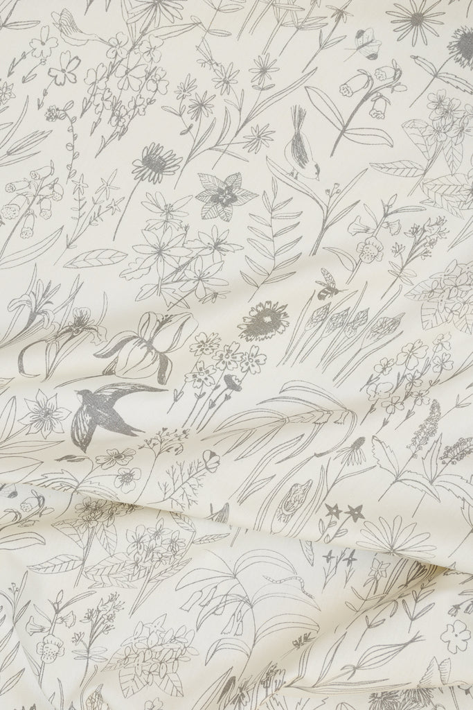 Screen Printed fabric with wildflowers