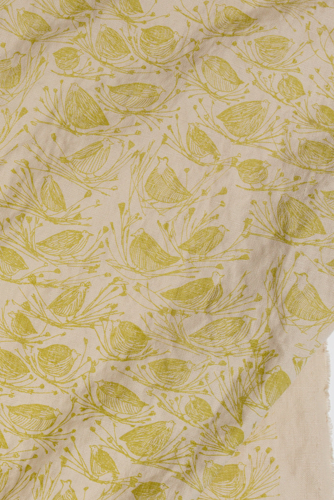 Screen printed linen with little birds