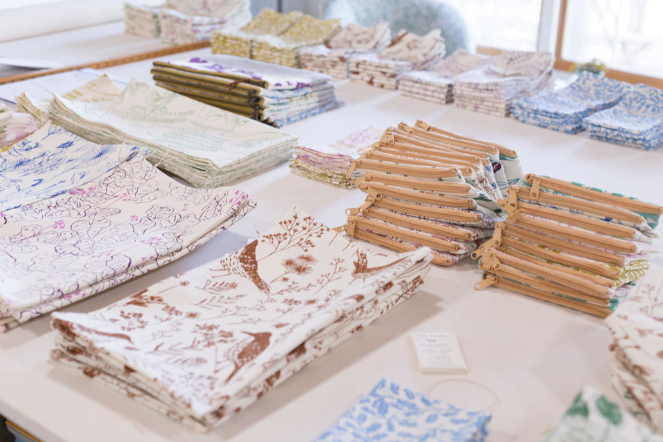 Hand printed textiles by Sara Parker