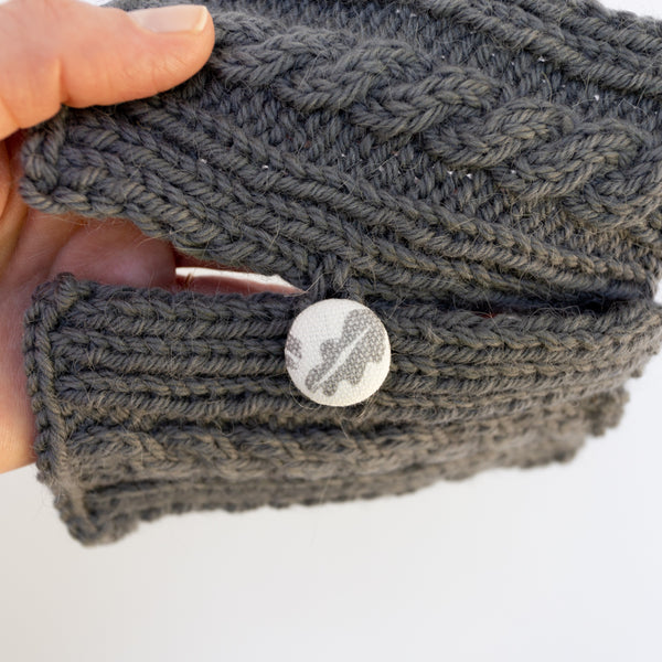 Fabric covered button on knitwear