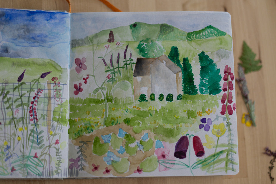 watercolor sketches of England