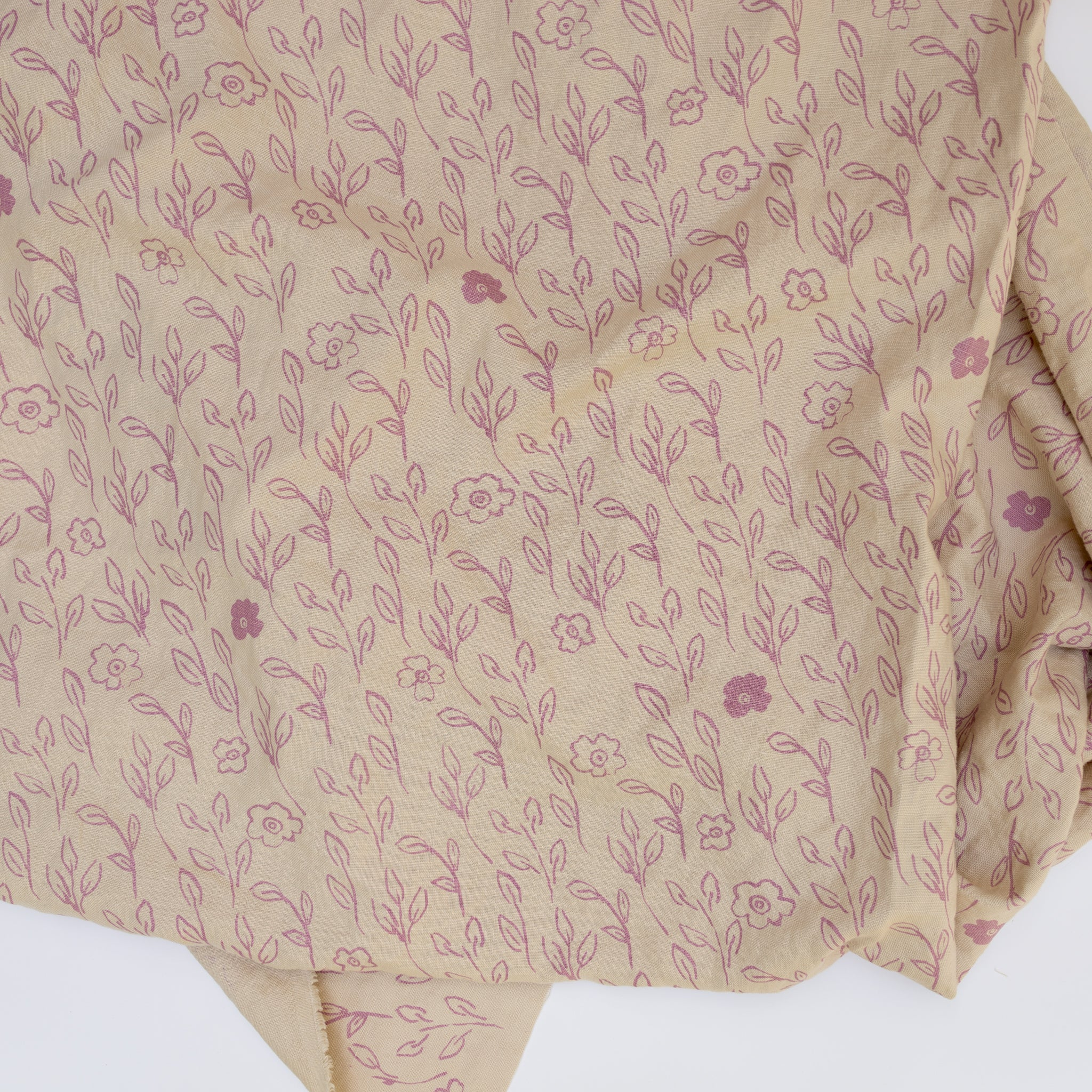 Bisque linen screenprinted with little pink flowers and leaves