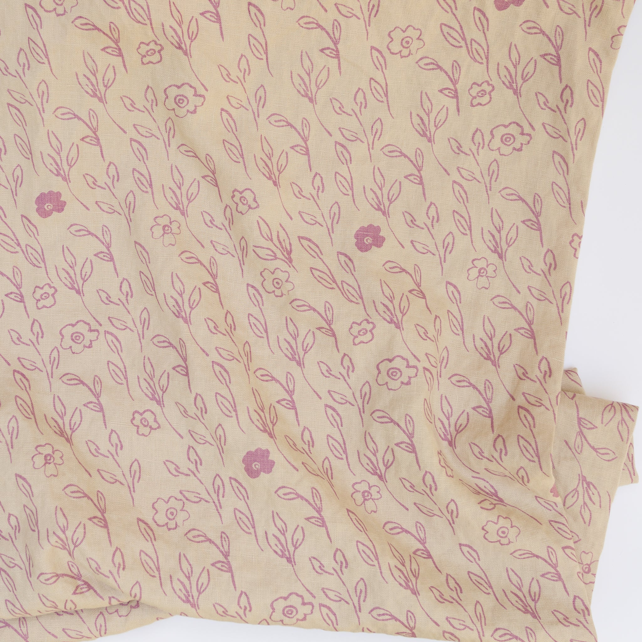 Briar printed in Mallow on linen by Sara Parker Textiles