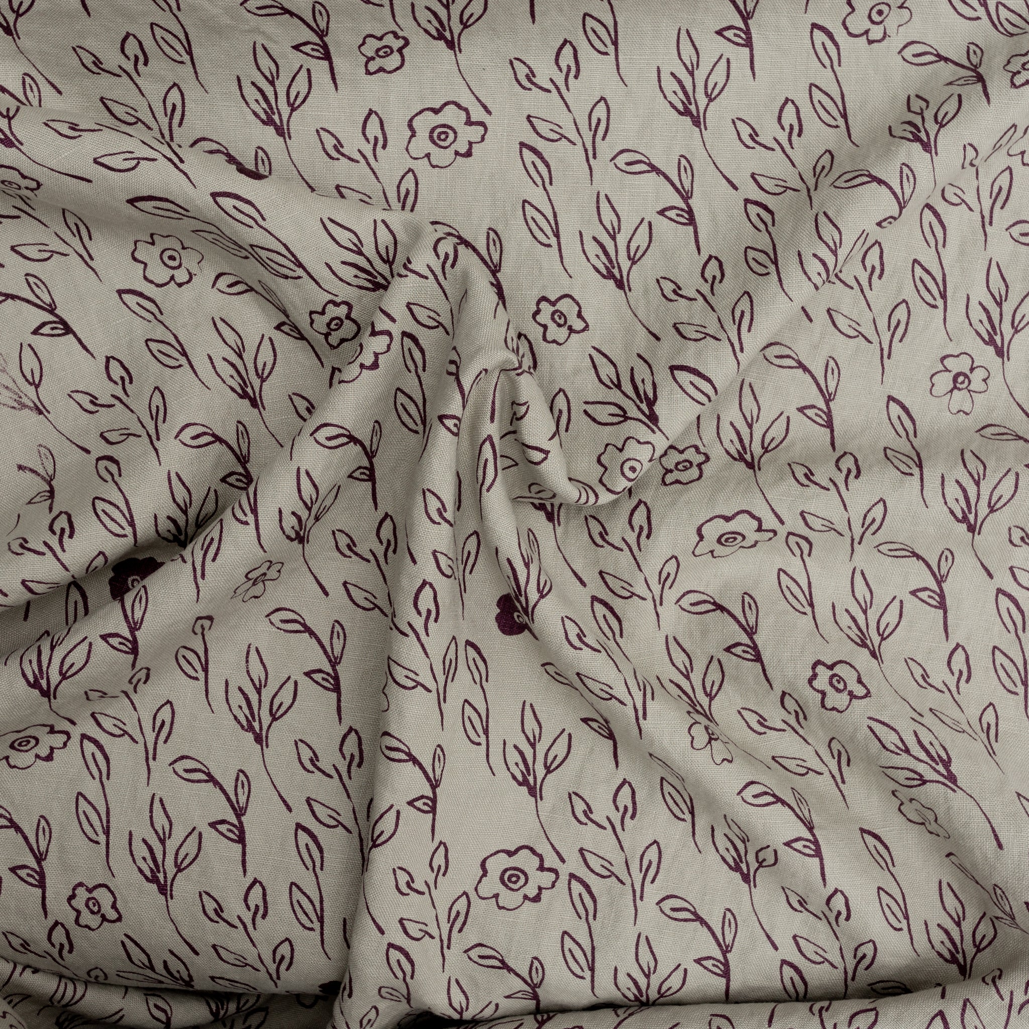 Briar printed in Muscadine on Sage linen by Sara Parker Textiles