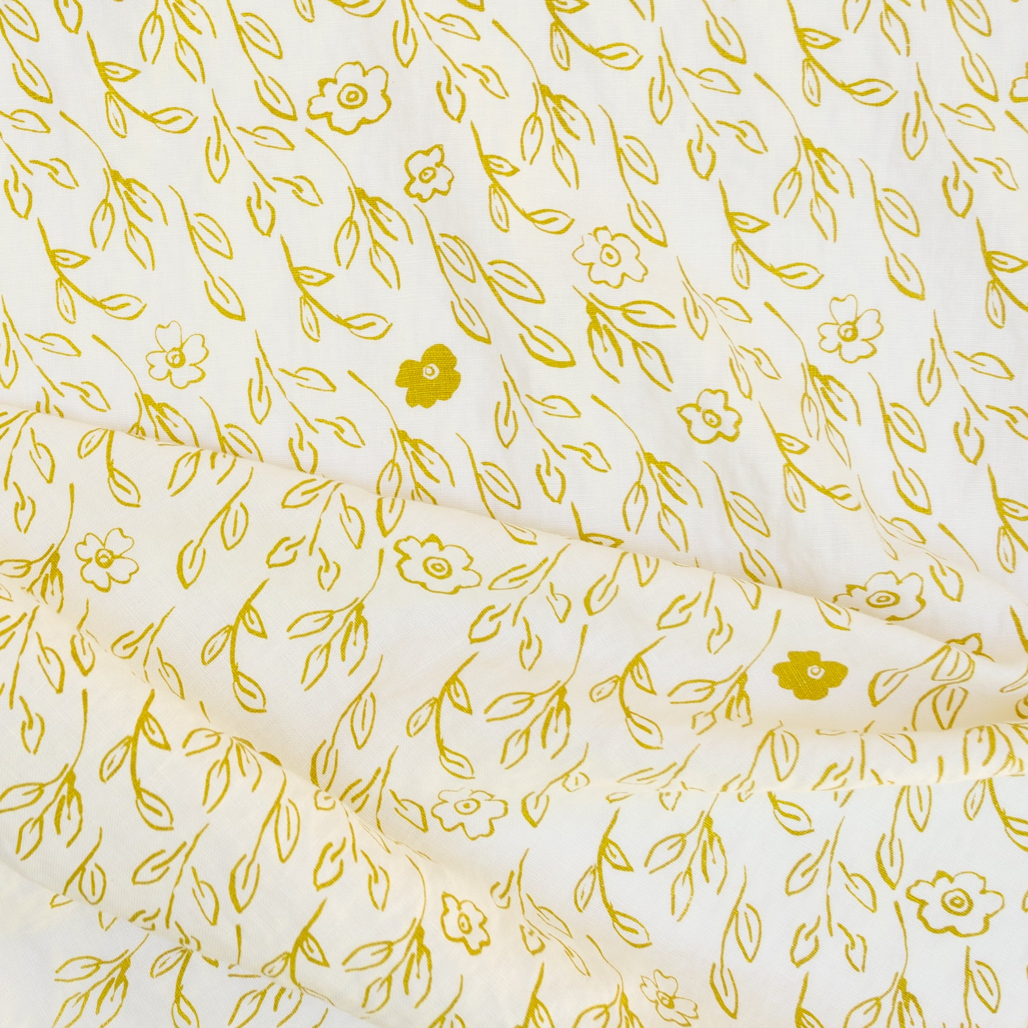 Briar printed in Yarrow on Ivory linen by Sara Parker Textiles