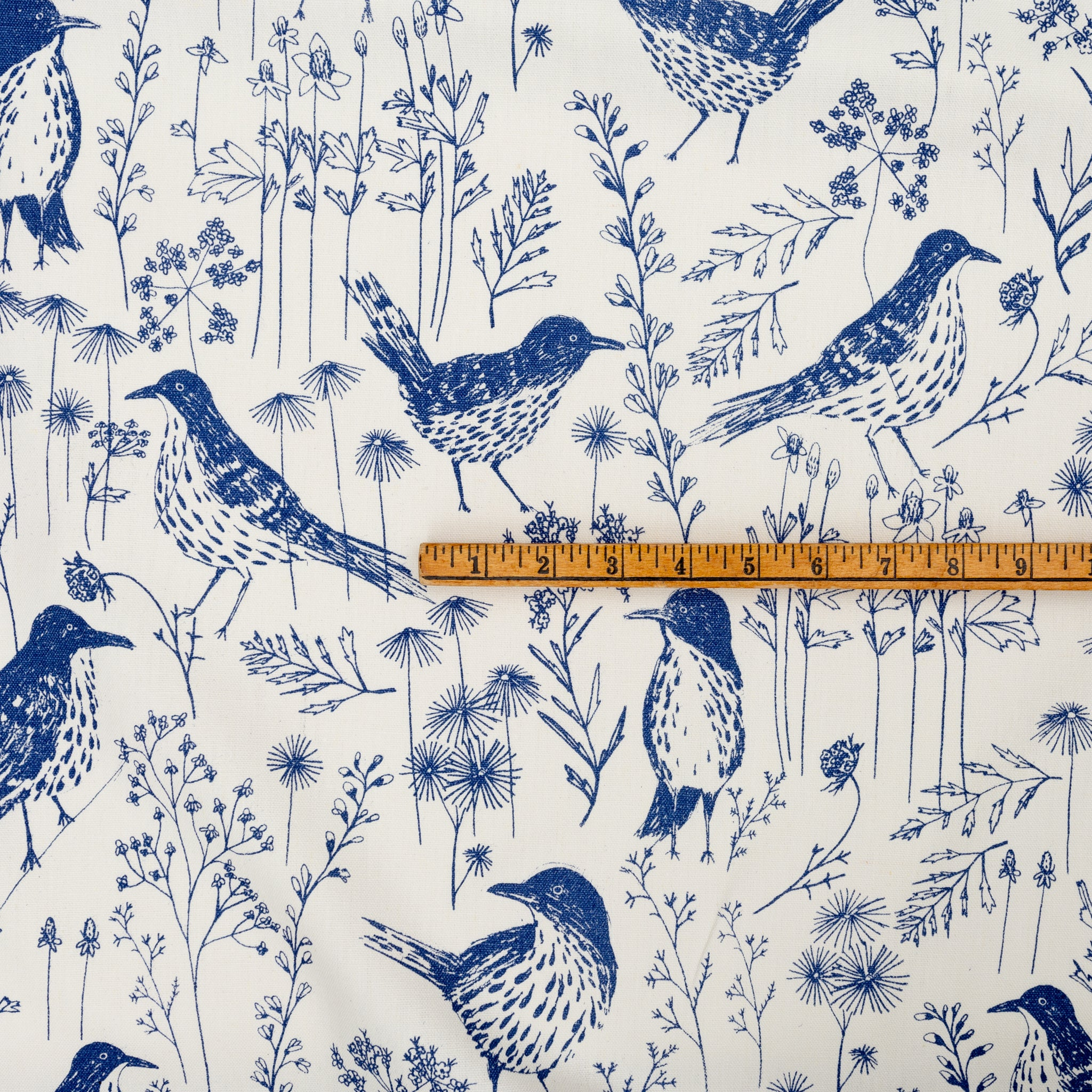 Brown Thrasher in Indigo by Sara Parker Textiles