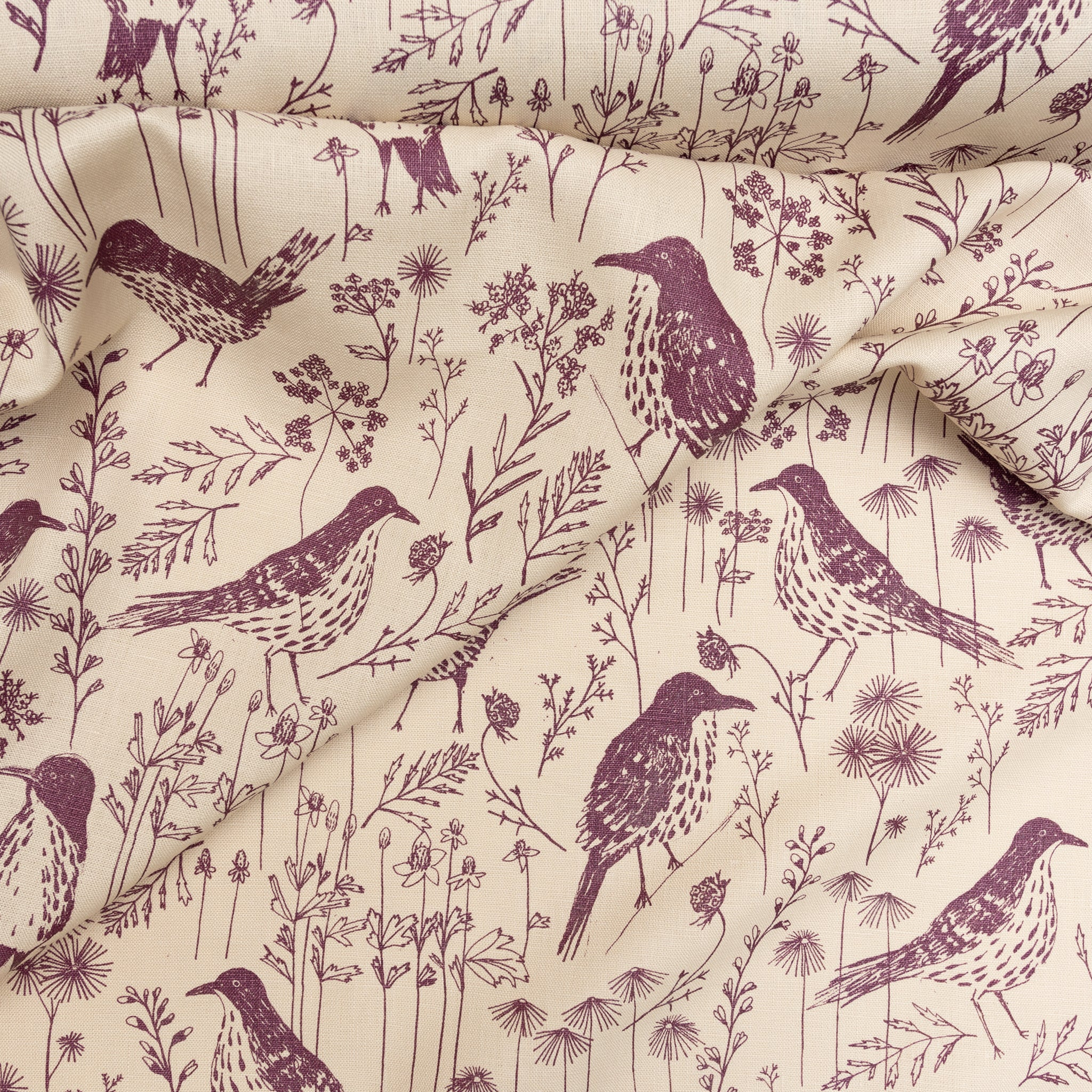 Brown Thrasher in Muscadine: 1/4 Yard (Linen)