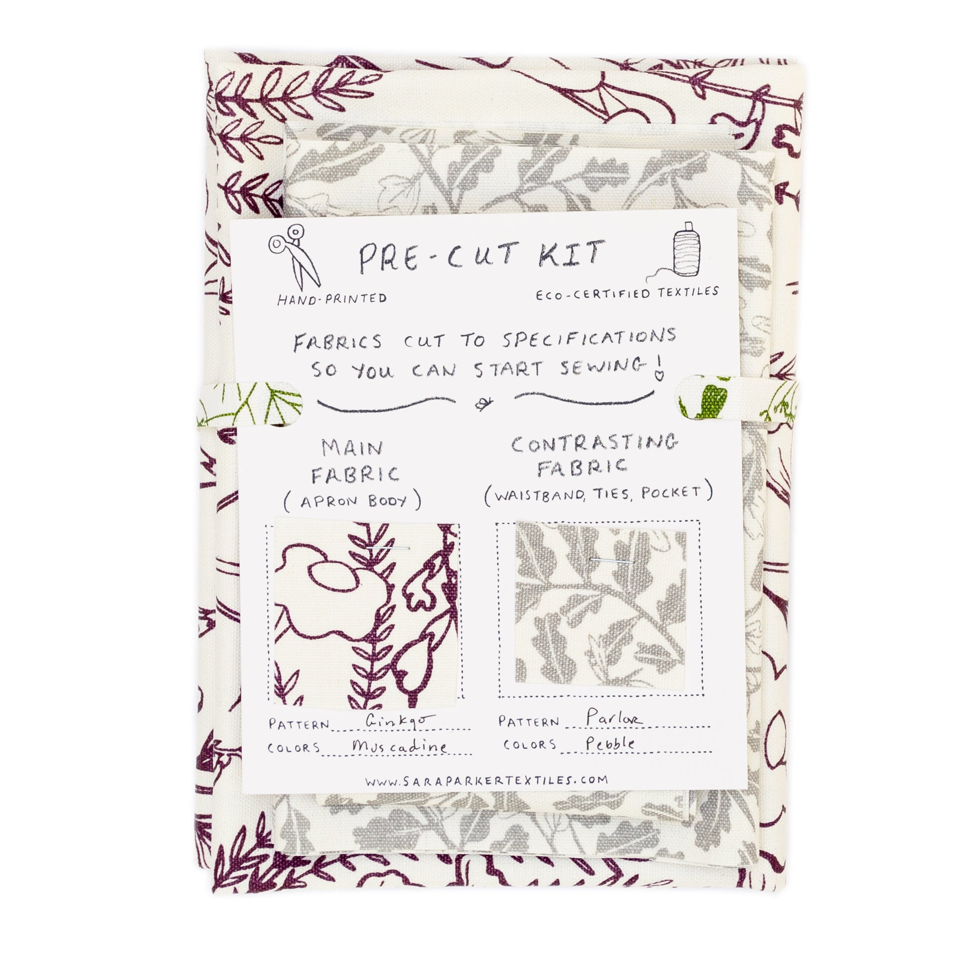 Cheryl Half Apron kit with pre-cut screen printed fabric