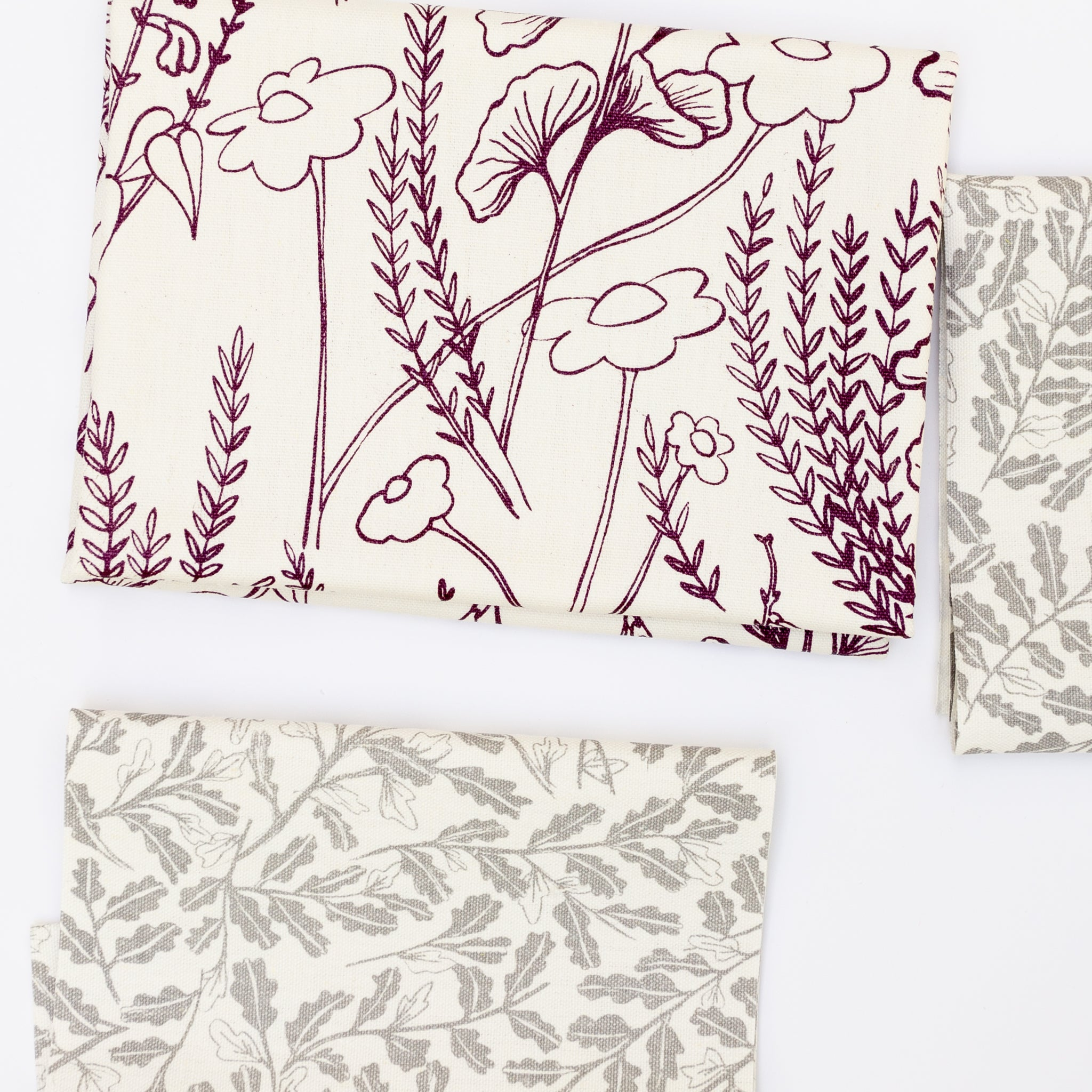 Pre-cut screen printed fabric with botanical illustrations