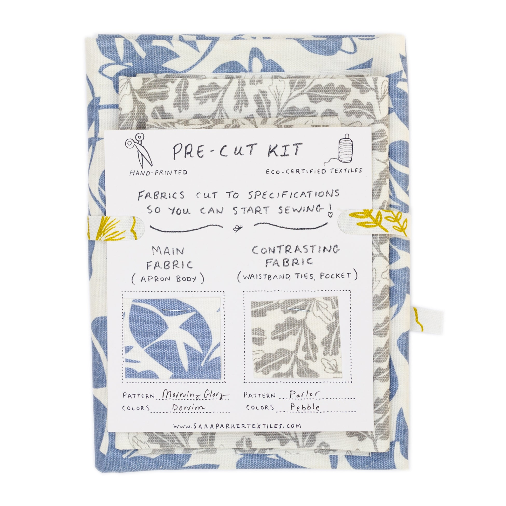 Apron kit with pre-cut screen printed fabric
