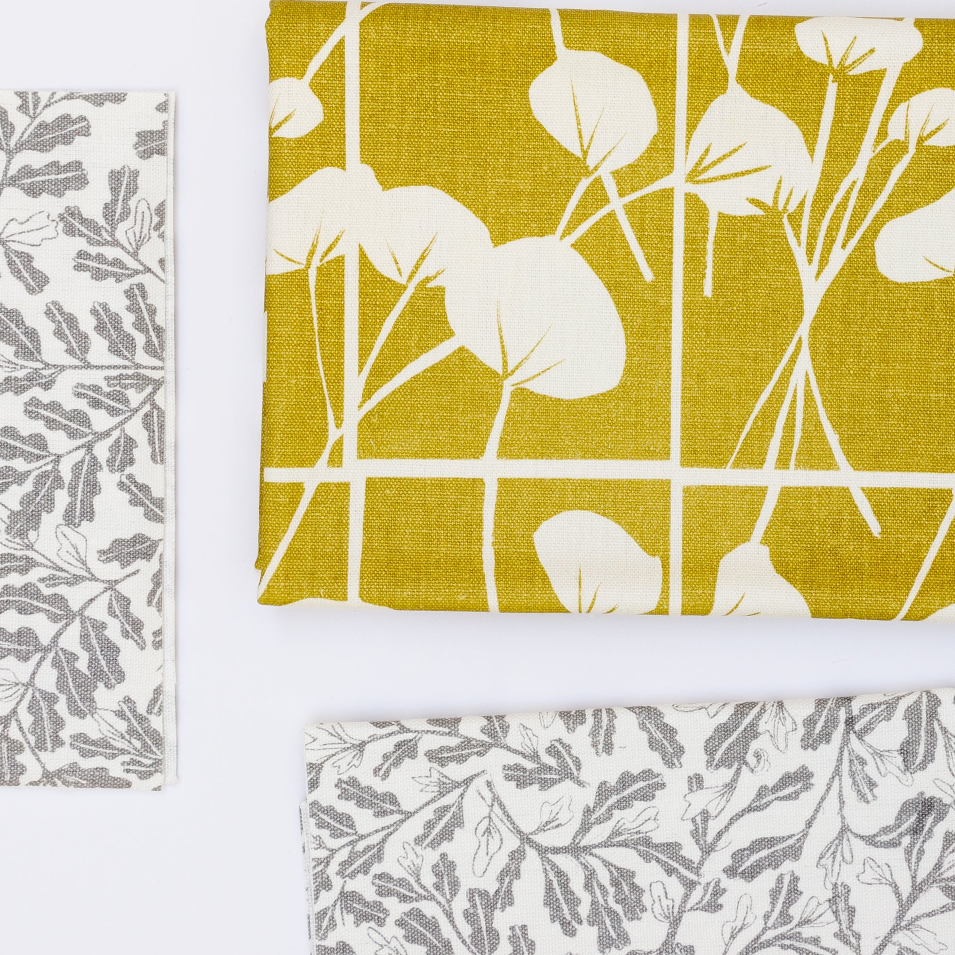 Screen printed fabric with botanical illustrations pre-cut for apron