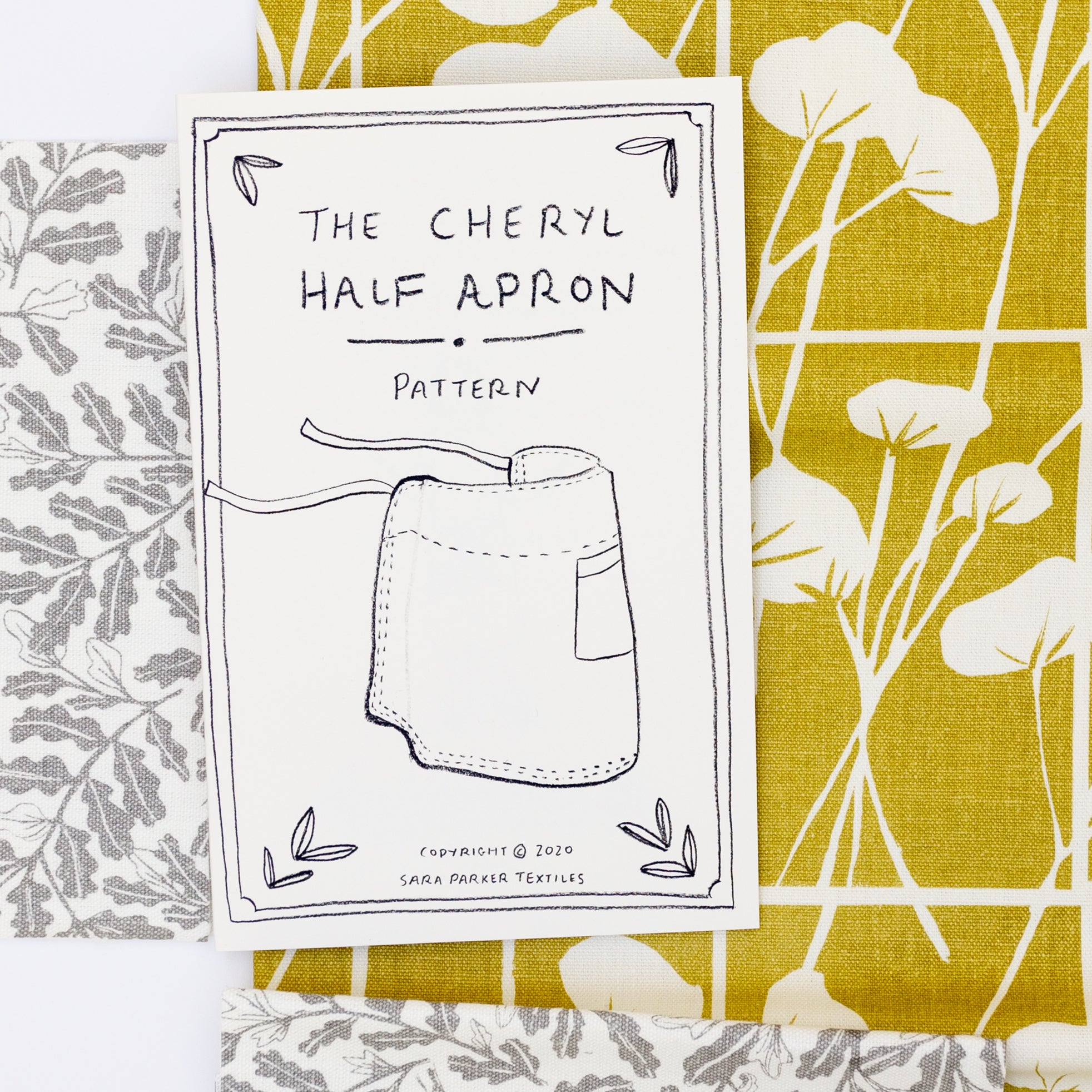 Printed apron pattern with pre-cut screen printed fabric