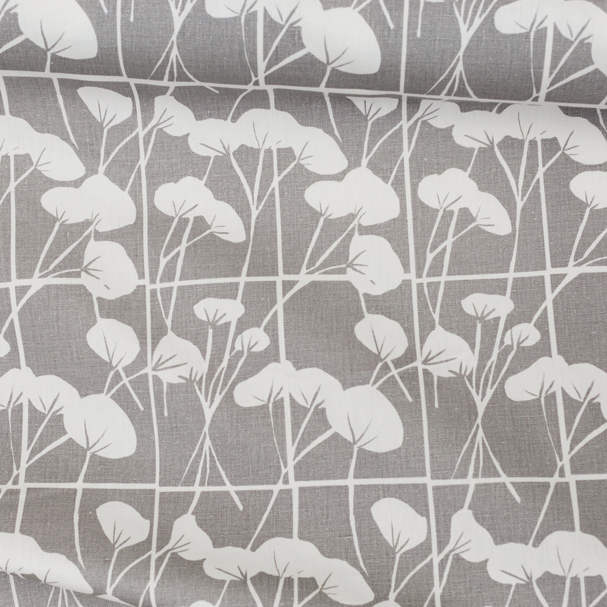 Screen printed fabric yardage with cotton plant