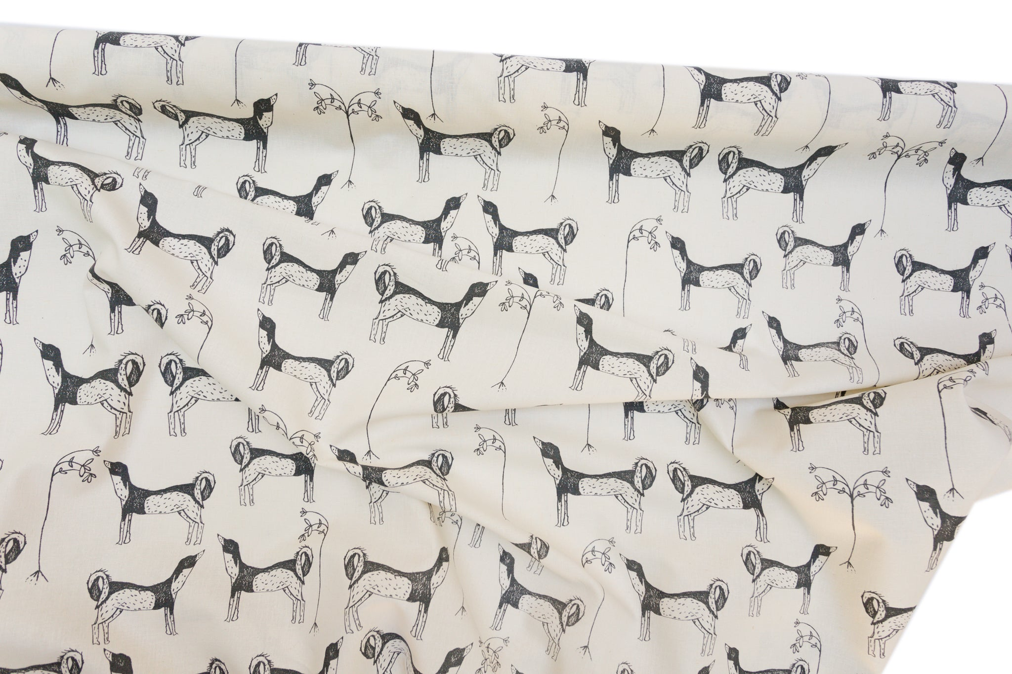 Screen printed fabric yardage with dog pattern
