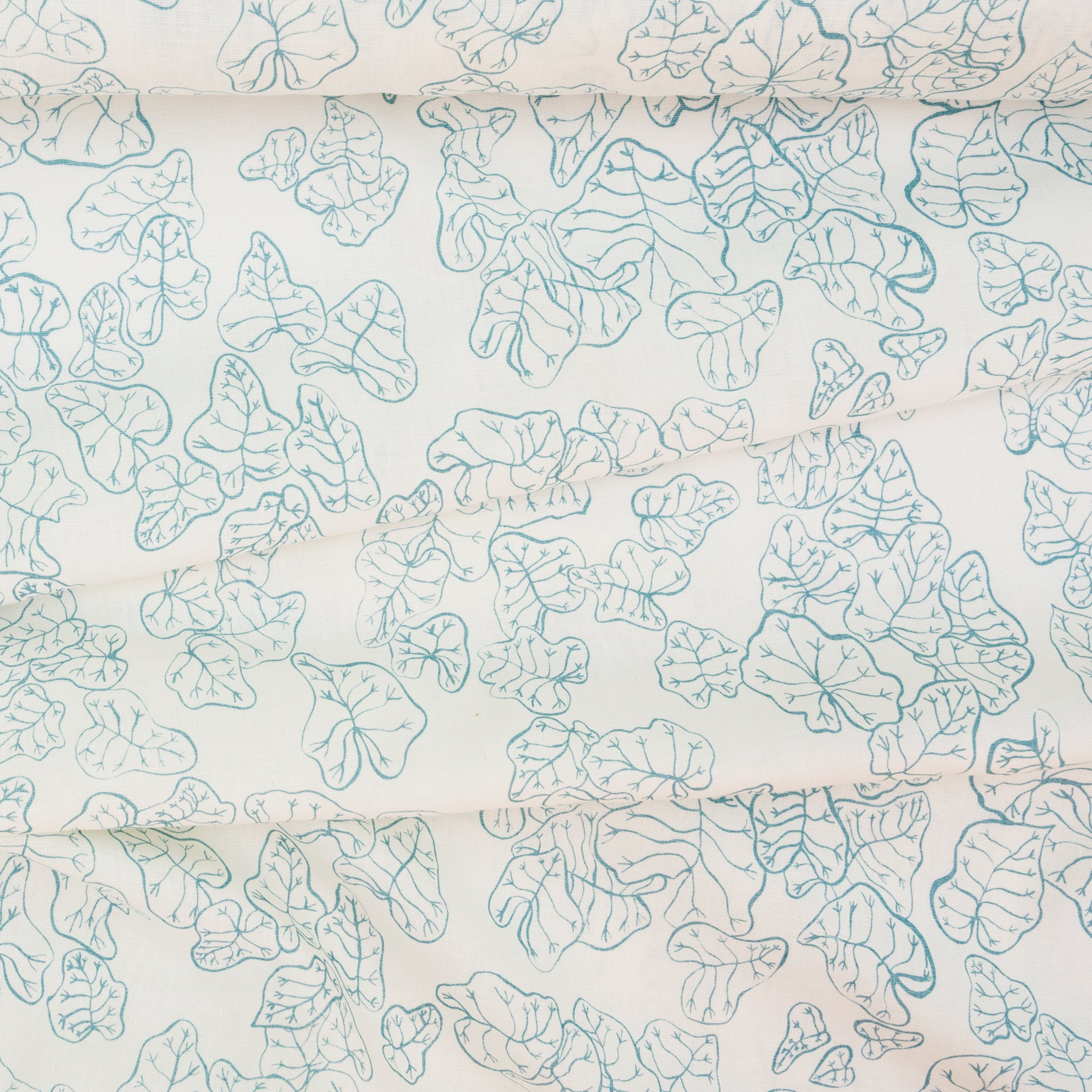 Linen fabric screen printed with heuchera leaves