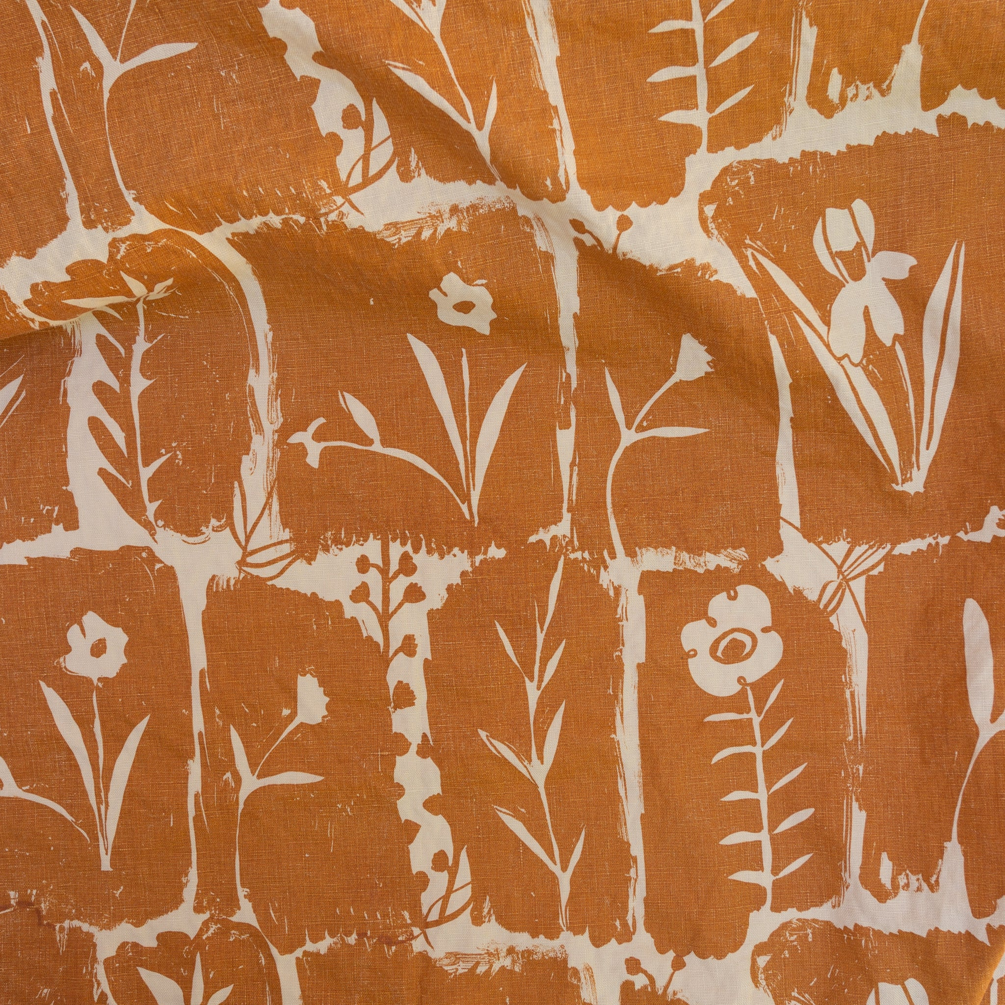 Matilda in Terracotta screen printed onto linen fabric