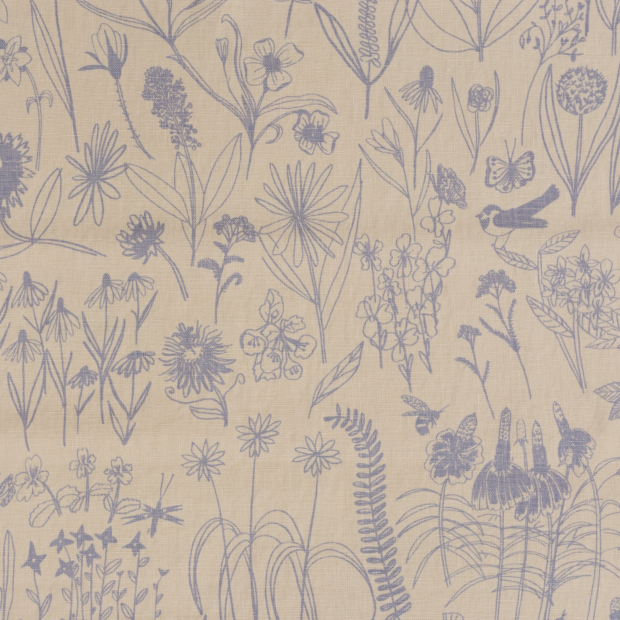 Linen fabric screen printed with bird and botanical illustrations