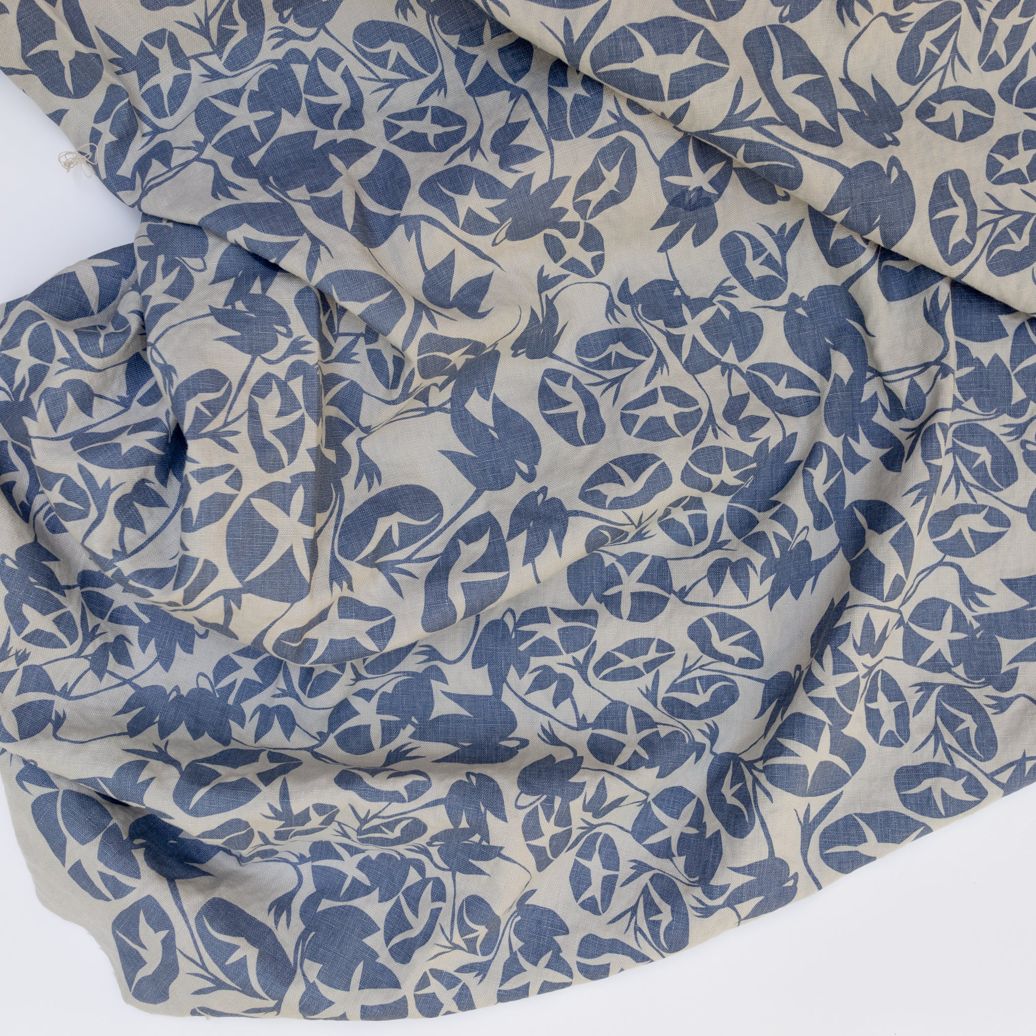 Linen fabric screen printed with morning glory pattern