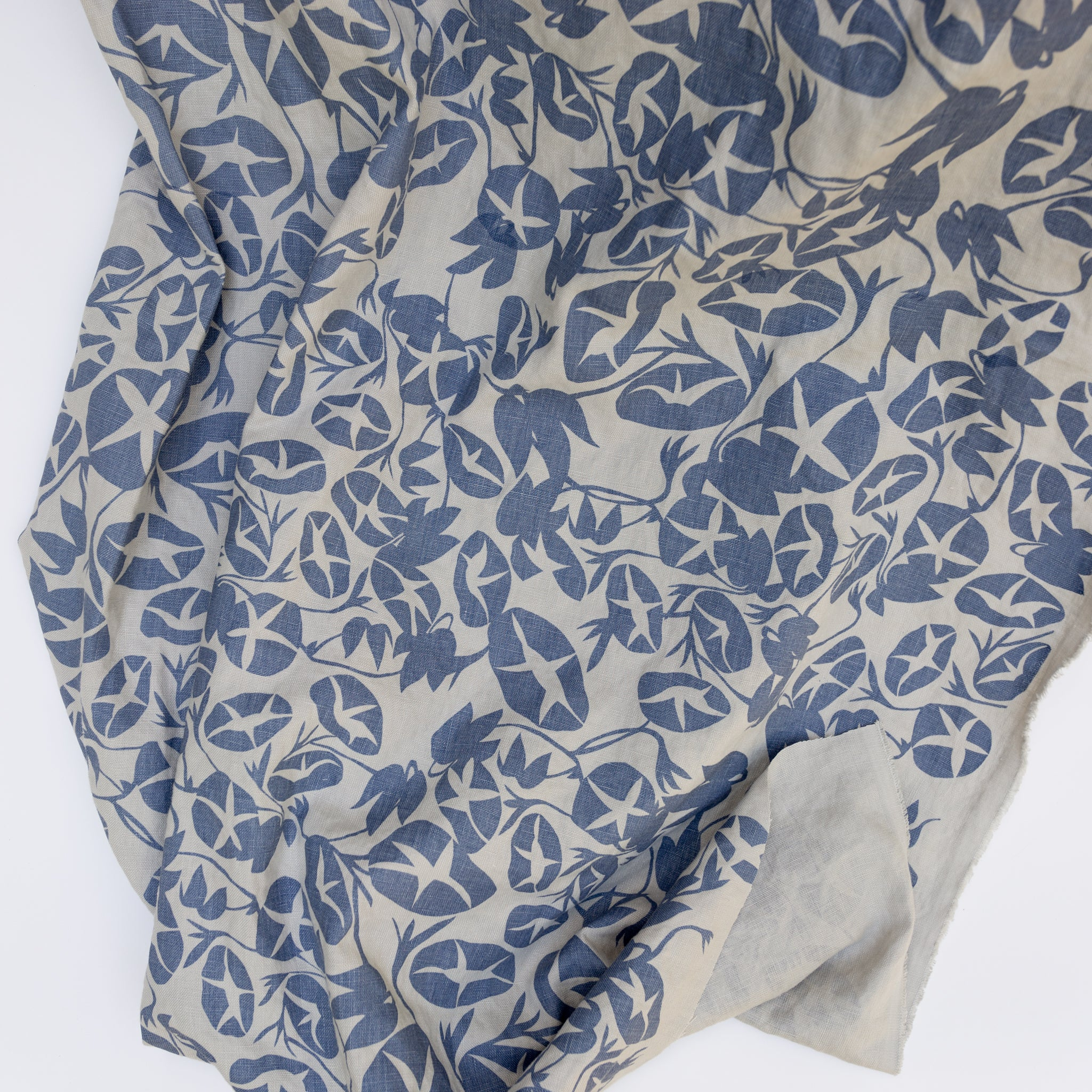 Screen printed fabric yardage with morning glory print