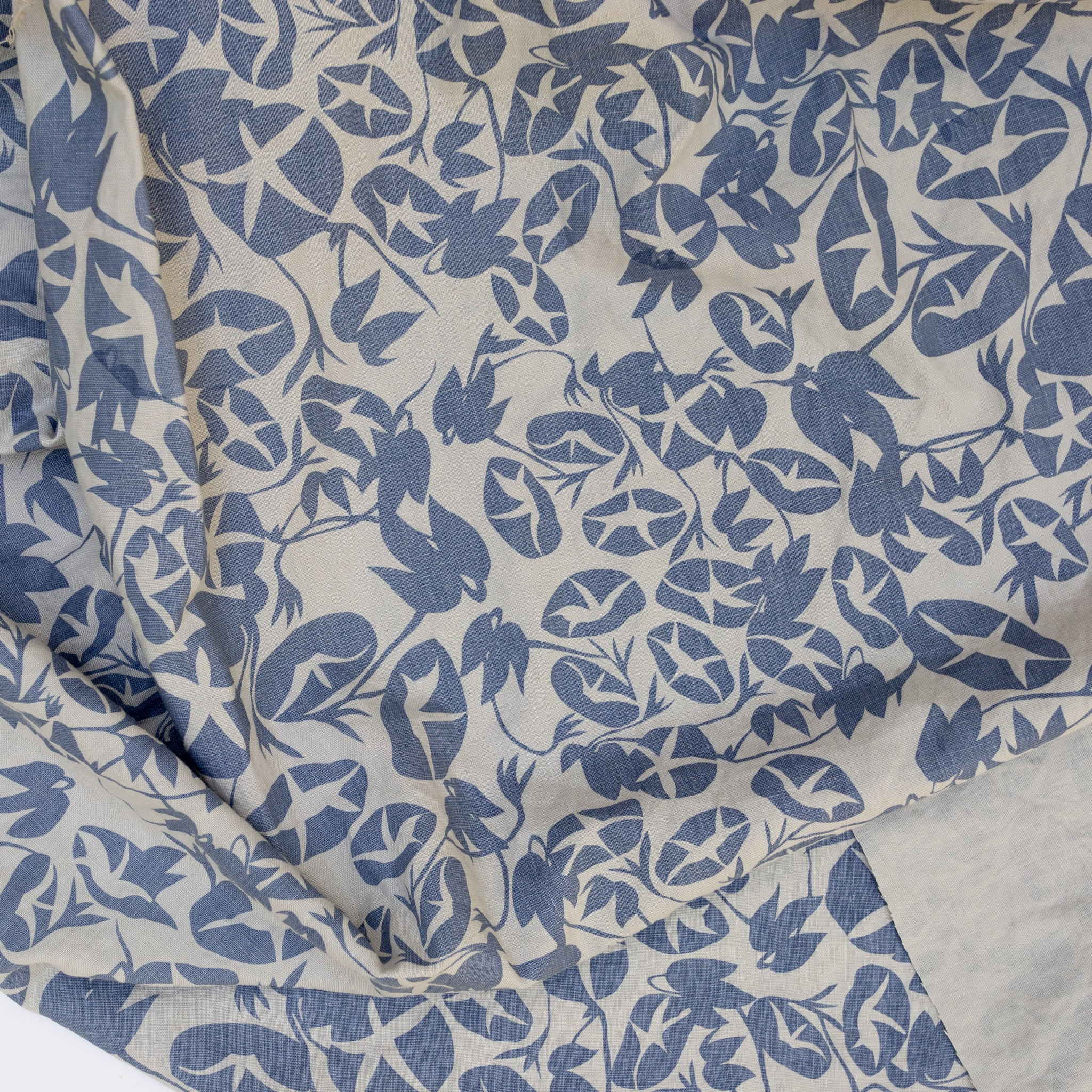 Screen printed fabric yardage with morning glories