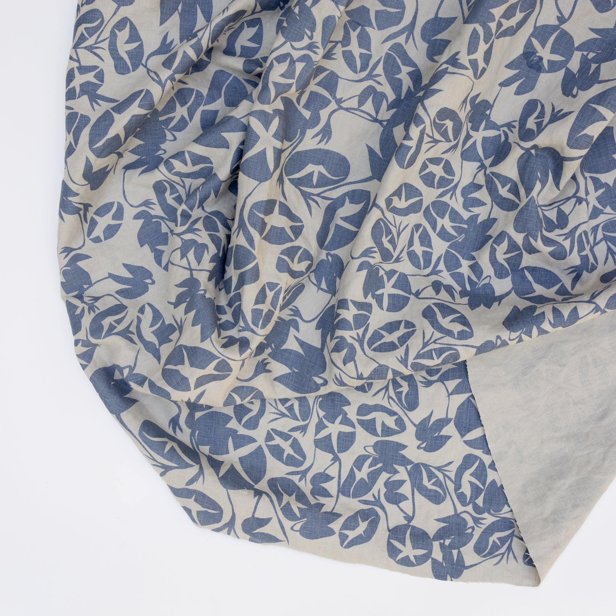 Pewter Linen screen printed with Morning Glory in Denim