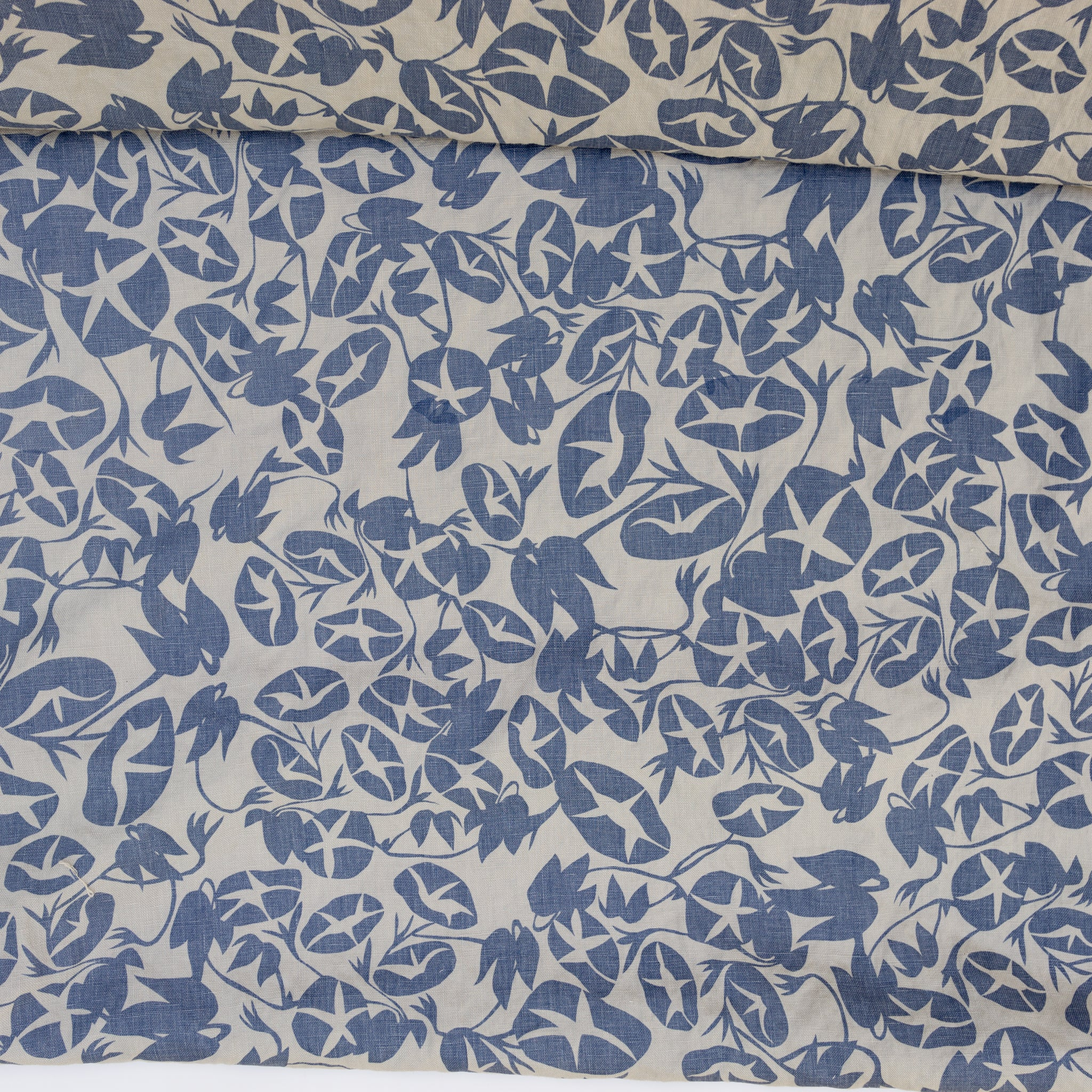 Screen printed fabric yardage with morning glory pattern