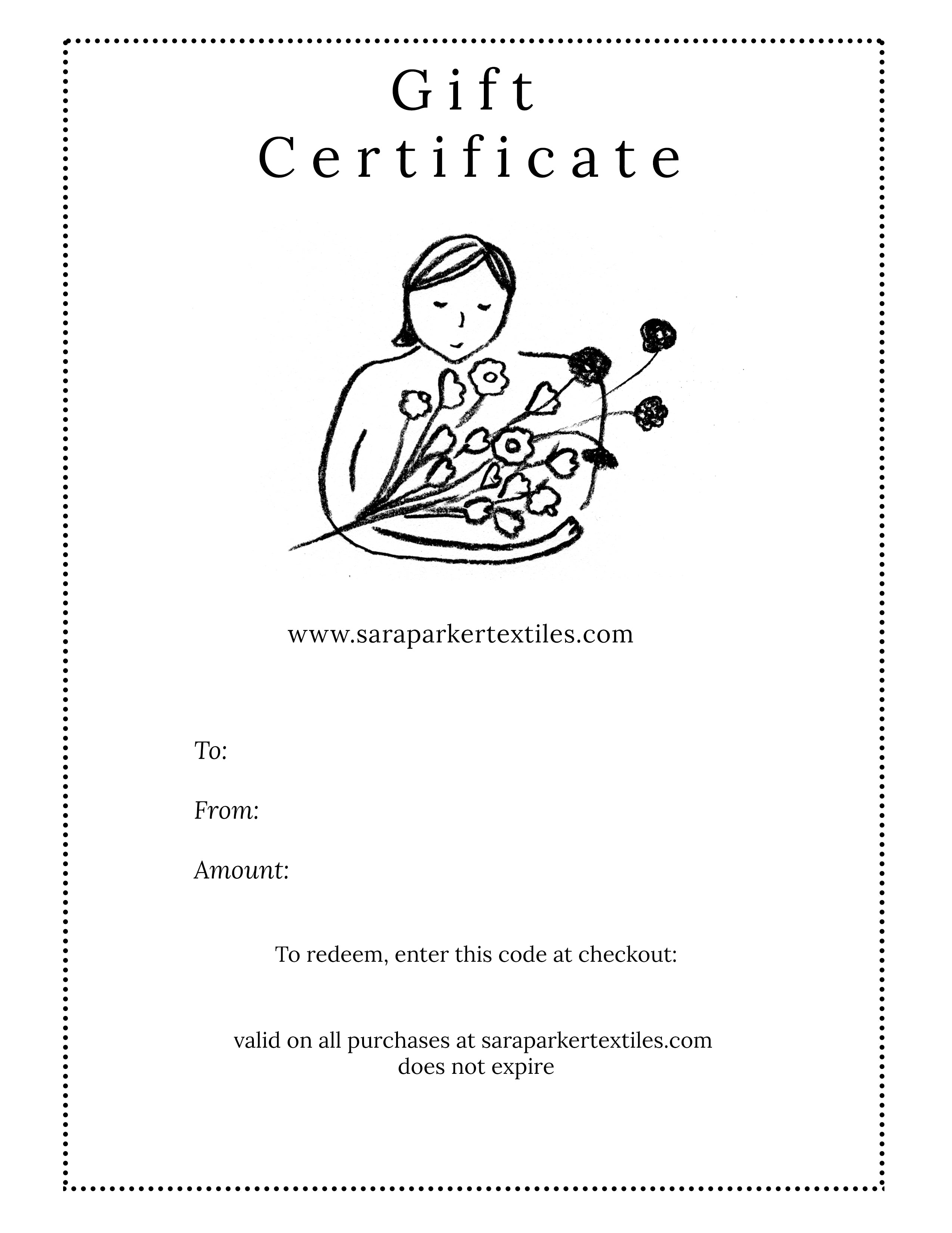 Sara Parker Textiles Gift Certificate