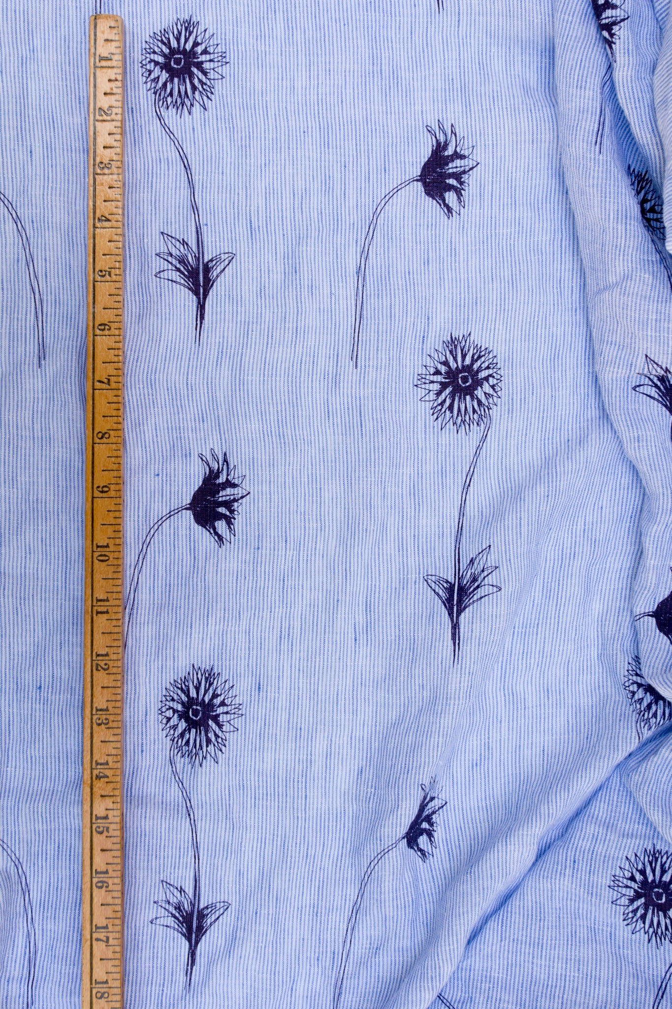 Apparel-Weight Linen: Spring Flowers on Odette Stripe