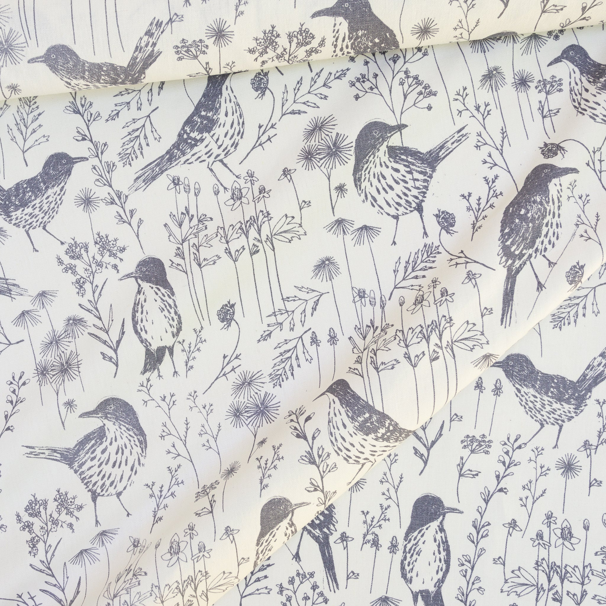 Screenprinted fabric yardage of Brown Thrasher in Shale on Mid weight base cloth by Sara Parker Textiles