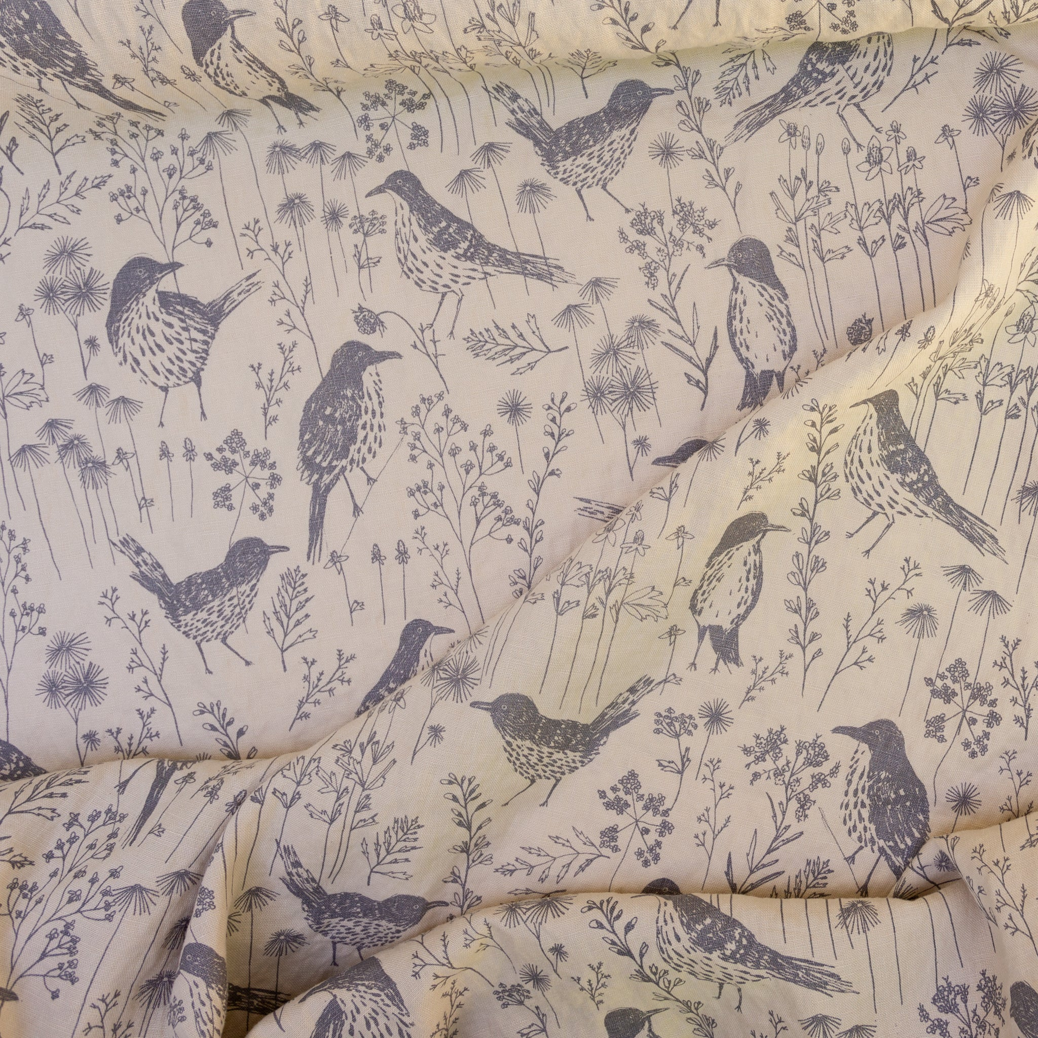 Brown Thrasher printed in Shale on Bisque linen by Sara Parker Textiles