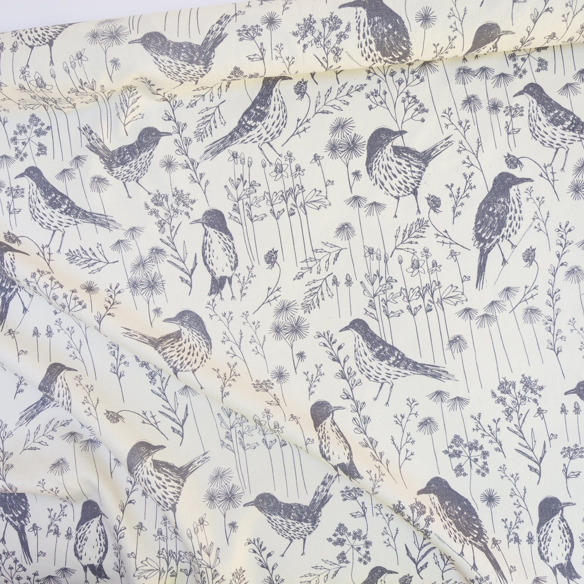 Screenprinted fabric yardage with birds