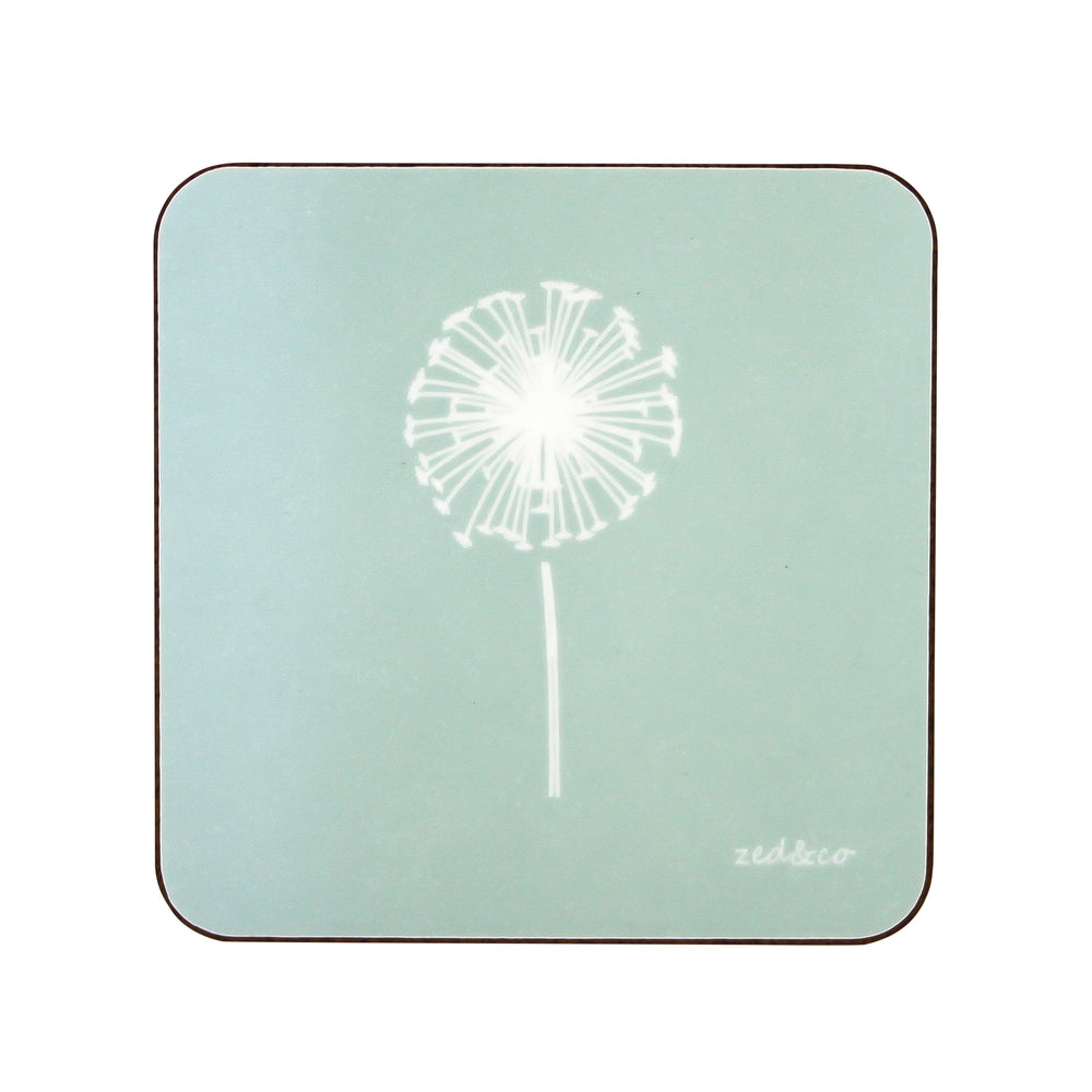 Dandelion Coasters In Aqua - Set of Four - Zed & Co