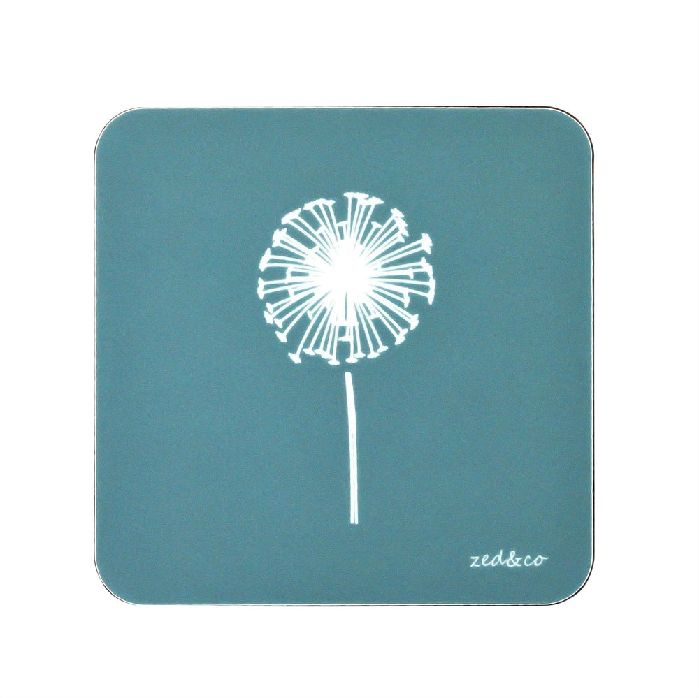 Dandelion Coasters In Teal - Set of Four - Zed & Co