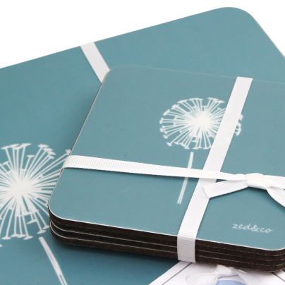 Dandelion Placemats In Teal - Set of Four