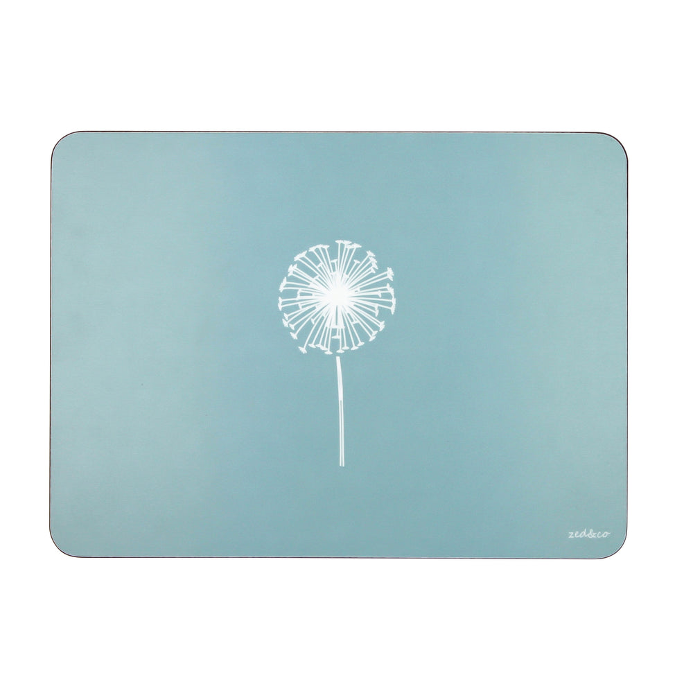 Dandelion Placemats In Soft Blue - Set of Four - Zed & Co