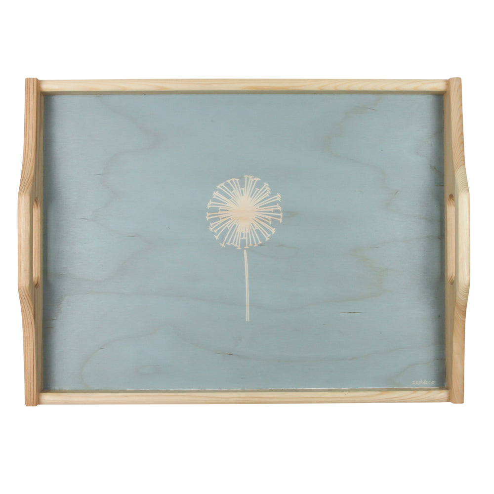 Dandelion Wooden Tray In Soft Blue - Zed & Co